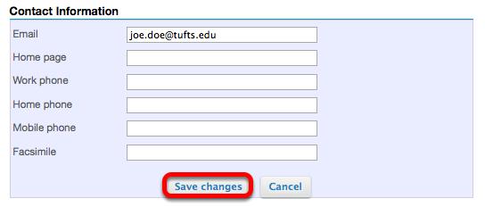 Edit Contact Information (Optional).