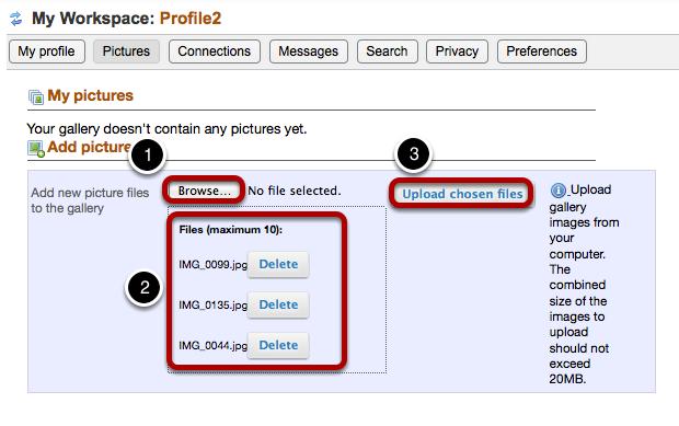 Upload image files.