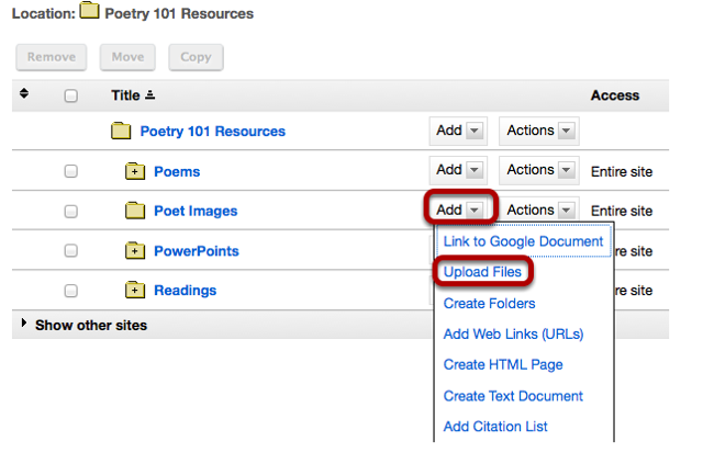 Method 2: To the right of the folder you want to upload the zip file, click Add /Upload file.