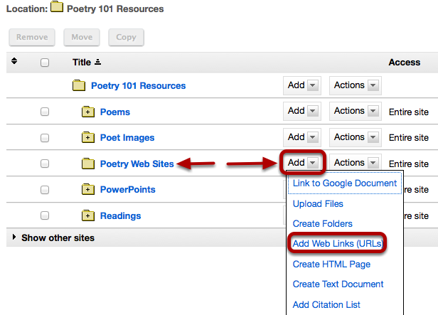 To the right of the folder you would like to add the web link, click Add / Add Web Links (URLs).