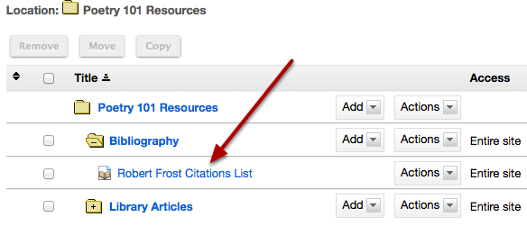 The citation list is located in the selected folder.