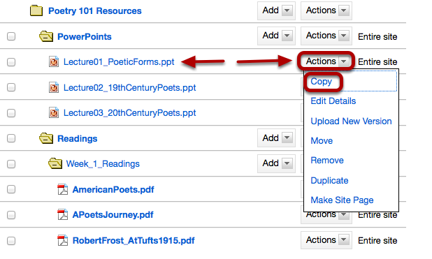 Method 2: To the right of the file or folder you want to copy, click Actions / Copy.