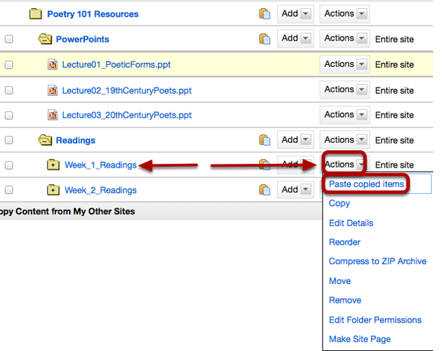 To the right of the folder you want to copy the file or folder to, click Actions / Paste Copied Items.