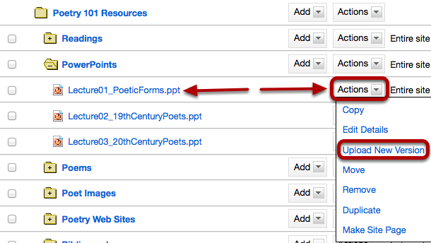 To upload a new version of a file, to the right of the file to replace, click Actions / Upload New Version.