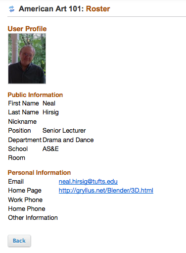 Click on a participant's name to view their Profile2 information.