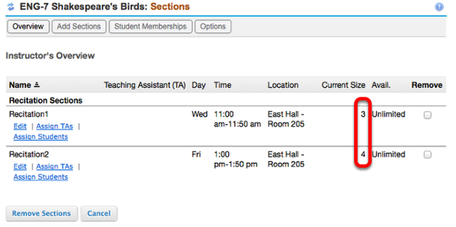 Example of Sections list with students added: