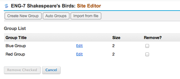Example of Group page listing: