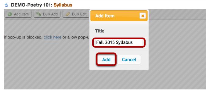 Enter a Syllabus title, then click Add