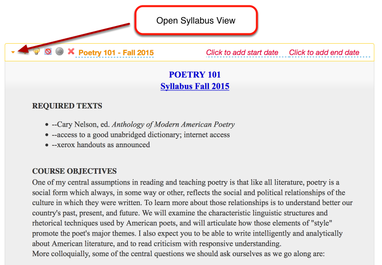 """Example of """"opened"""" Syllabus"""