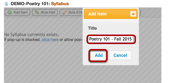 Enter a Syllabus Title, then click Add.