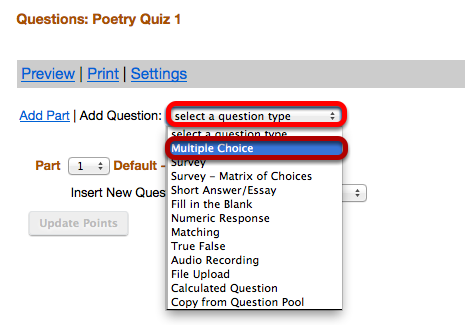 """Use the """"Select a question type"""" dropdown box to select the Multiple Choice question type."""