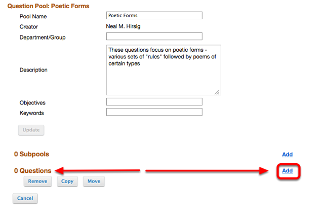 """To the right of """"Questions"""", click Add."""
