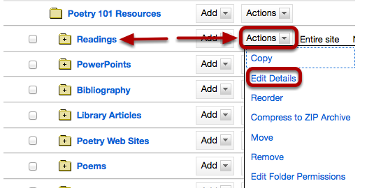 To the right of the folder you want to link to, click Actions / Edit Details.