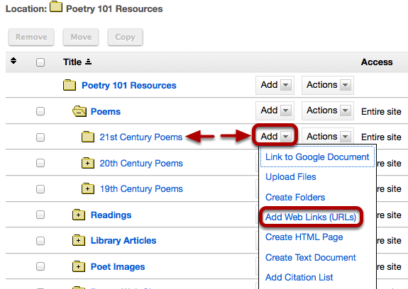 To the right of the Resource folder you would like to place the link, click Add / Add Web Links (URLs)