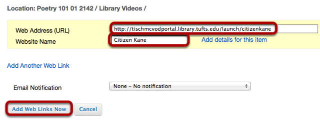Paste the URL received from the library media services in the URL box, name the link, then click Add Web Links Now.