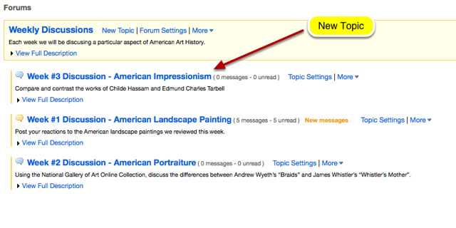 Example of adding a new Topic to a Forum.