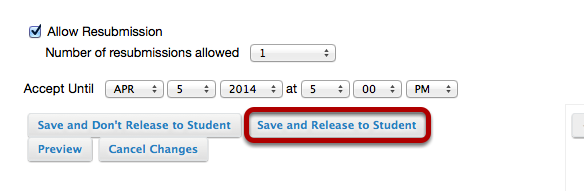 Click Save and Release to Student.
