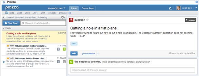 Example of how the question will appear on the instructor and other student's display.
