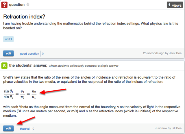 Example of an equation in a Piazza post:
