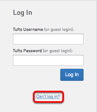 """If you do not know your Guest password, go to the Trunk login page (trunk.tufts.edu) and click on """"Can't Log in?"""""""