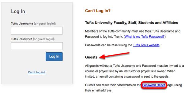 Under Guests, click Reset Password.