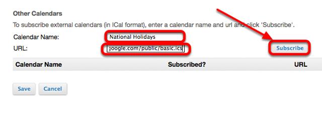 "Enter a Calendar name, paste the "".ics"" URL int the URL box, then click Subscribe."