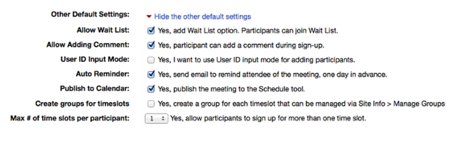 """Click """"Show the other Default Settings"""" and adjust the additional settings."""