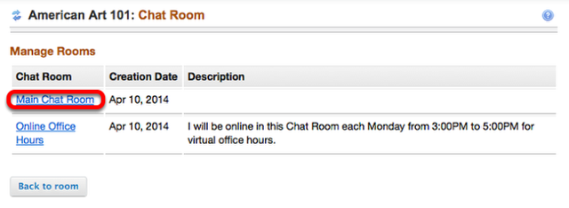 Click the name of the Chat Room you would like to join.