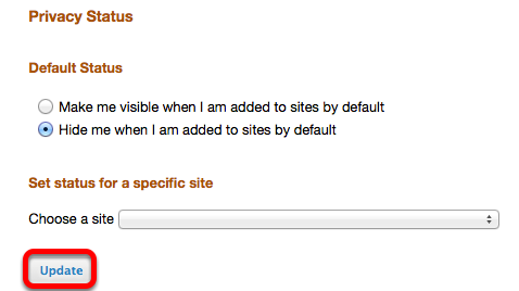 Options 1: (Hide / Remain Visible in all sites when added by default) - Select Status, then click Update.