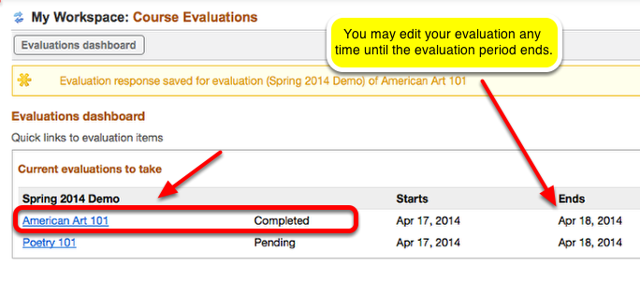 After submitting, a confirmation is displayed.