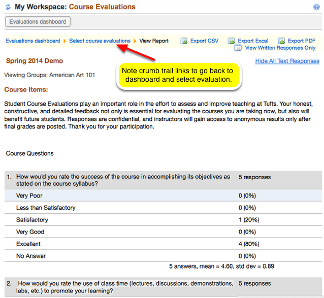 Example of course evaluation display: