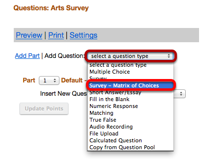 """Use the """"Select a question type"""" dropdown box to select a Survey Matrix question type."""