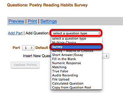 """Use the """"Select a question type"""" dropdown box to select the Survey type."""