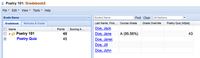 Example of Graded item in Gradebook2: