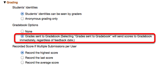 Under Settings / Grading / Options, select Grades Sent to Gradebook.