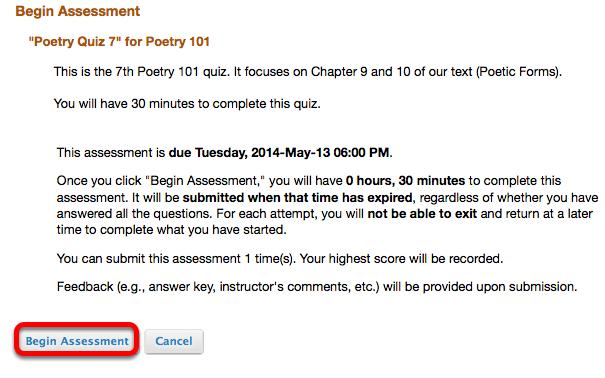 Click Begin Assessment.
