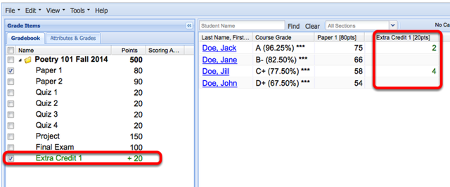 Example: (Non-weighted gradebook - Scoring by Points)