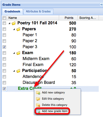 """Next, right-click the name of the Extra Credit Category and select """"Add a new grade item""""."""