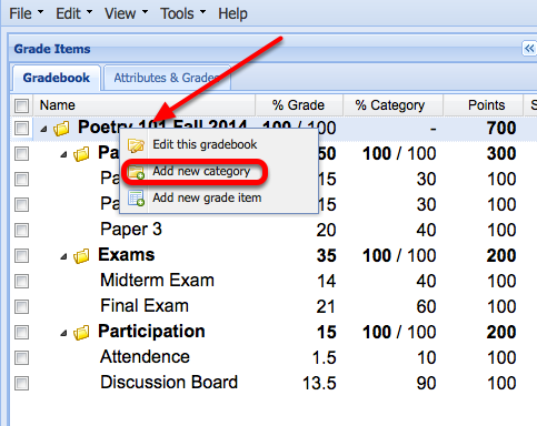 """Case 2: (Adding an extra credit category) - Right-Click the name of the Gradebook and select """"Add New Category""""."""