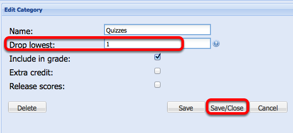 Enter the number of lowest category grades to be dropped, then click Save/Close.