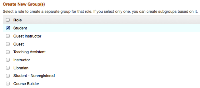 "Checkmark a site ""Role"" for which you would like to have groups automatically created."