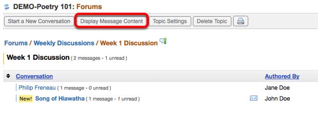 Grading (Alternative Method) - Click Display Message Contents.