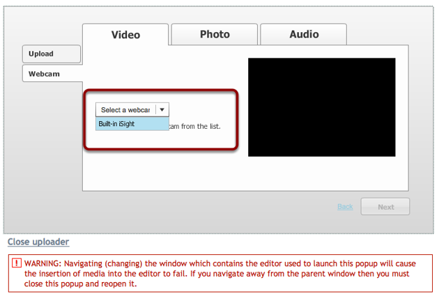 """Use the """"Select a webcam"""" dropdown box to select your web cam."""