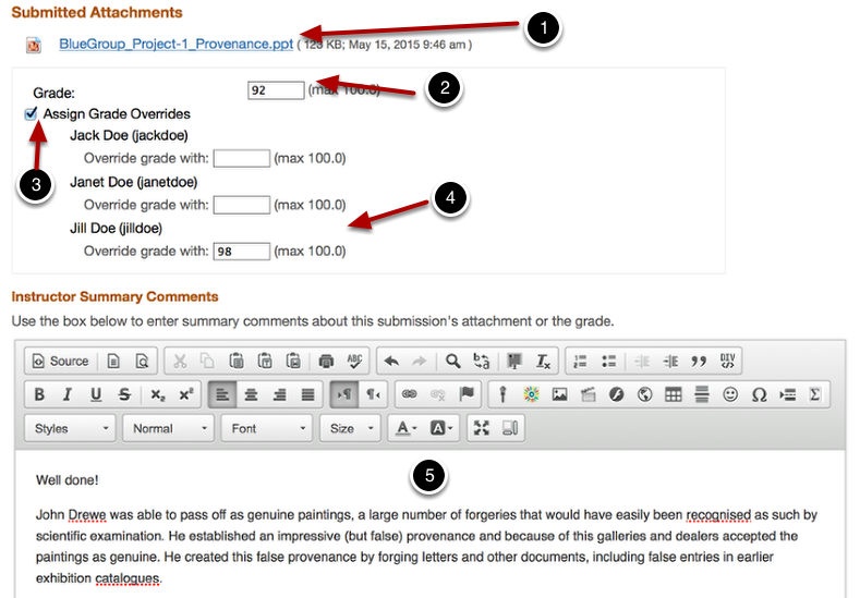 Download submission, assign grade - (grade over-ride and add comments optional)