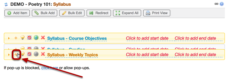 To reorder the syllabus parts, click on one of the multi-arrow icons and drag the part to the new position