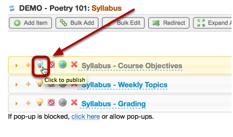 To republish the syllabus, click the unpublish/publish icon again