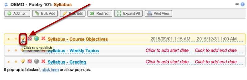 To the left of the syllabus (or syllabus part) click the unpublish/publish icon.