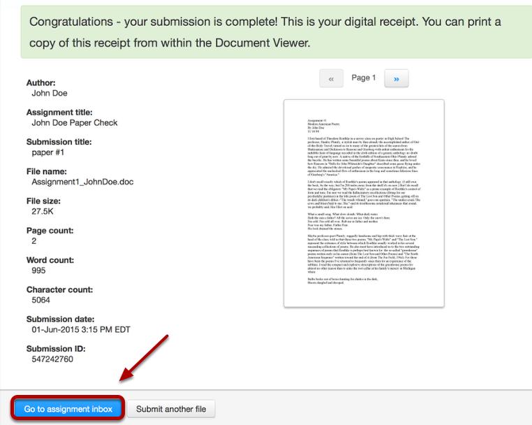 "Click ""Go to assignment inbox""."