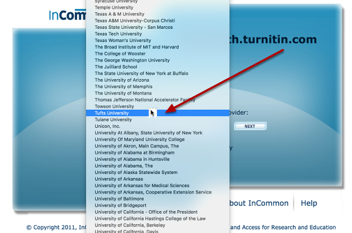 Use the dropdown box to select Tufts University
