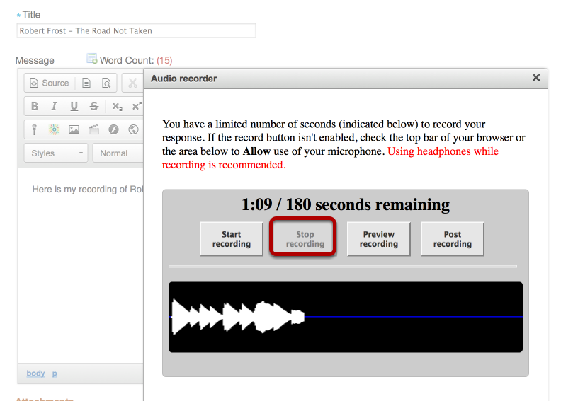 """When finished recording, click """"Stop Recording""""."""